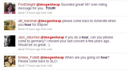 Fans expressing excitement for Heap's tour
